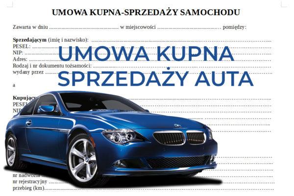 umowa kupna sprzedaży samochodu