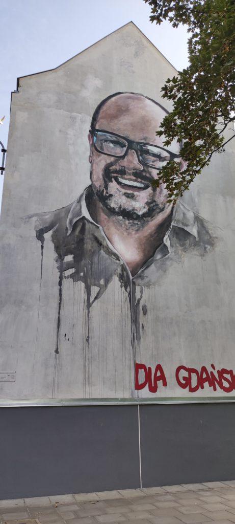 Gdańsk - Zmarły prezydent Gdańska i Mural na jego cześć